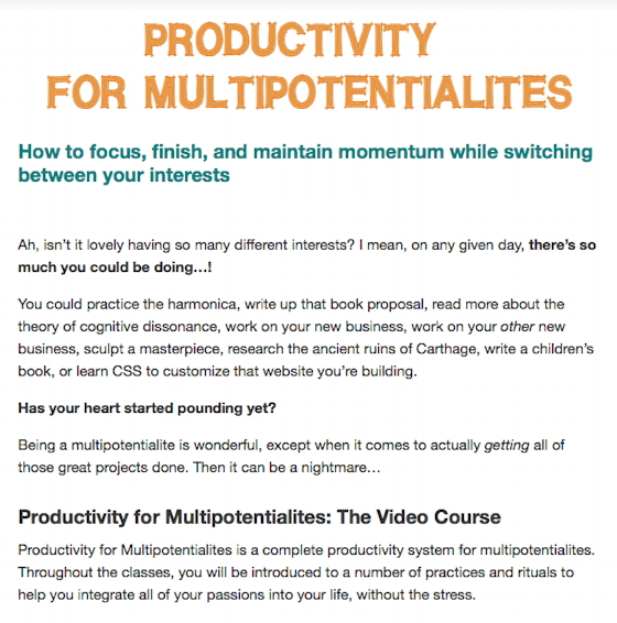 The Productivity for Multipotentialites Course