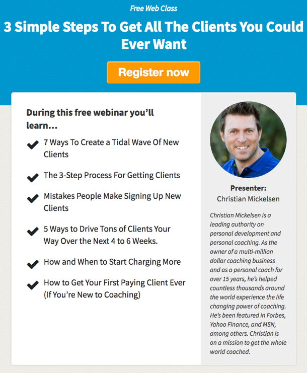 Christian Mickelsen Free Web Class: Get All The Clients You Want