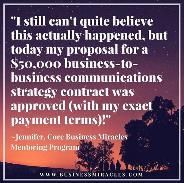 Business Miracles client Jennifer quote
