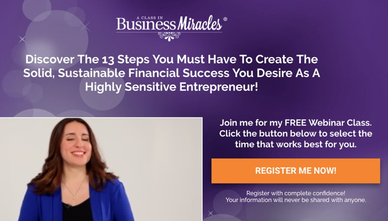 Free Business Miracles webinar for Highly Sensitive Entrepreneurs by Heather Dominick